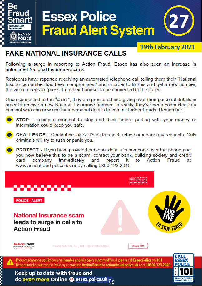 Essex Fraud Alert 27 - Fake National Insurance Calls