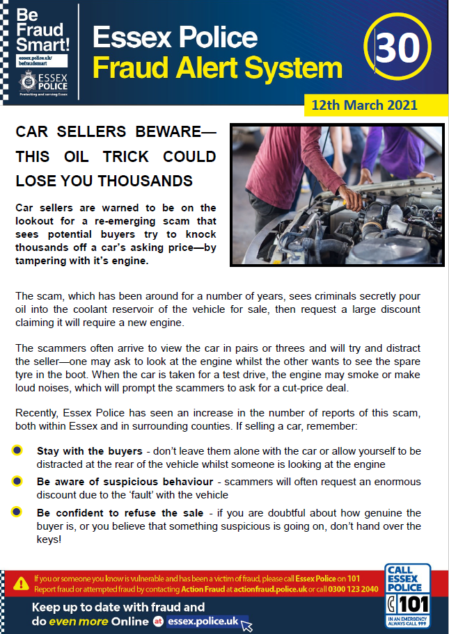 Essex Fraud Alert 30 - Ticket & Vehicle Scams